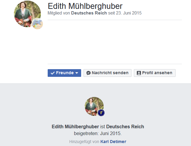 """NR.-Abg. Edith Mühlberhuber als Mitglied der Gruppe """"Deutsches Reich"""""""