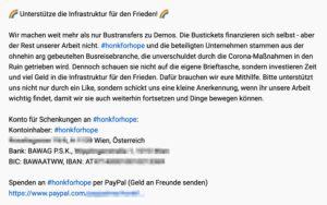 """A. Ehrlich: Schenkungen für den Frieden und den Verein (?), Spenden für die """"Freunde"""" (?)"""
