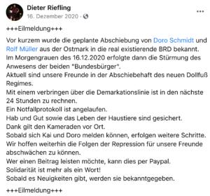 """""""Eilmeldung"""" von Riefling zu Müllers"""