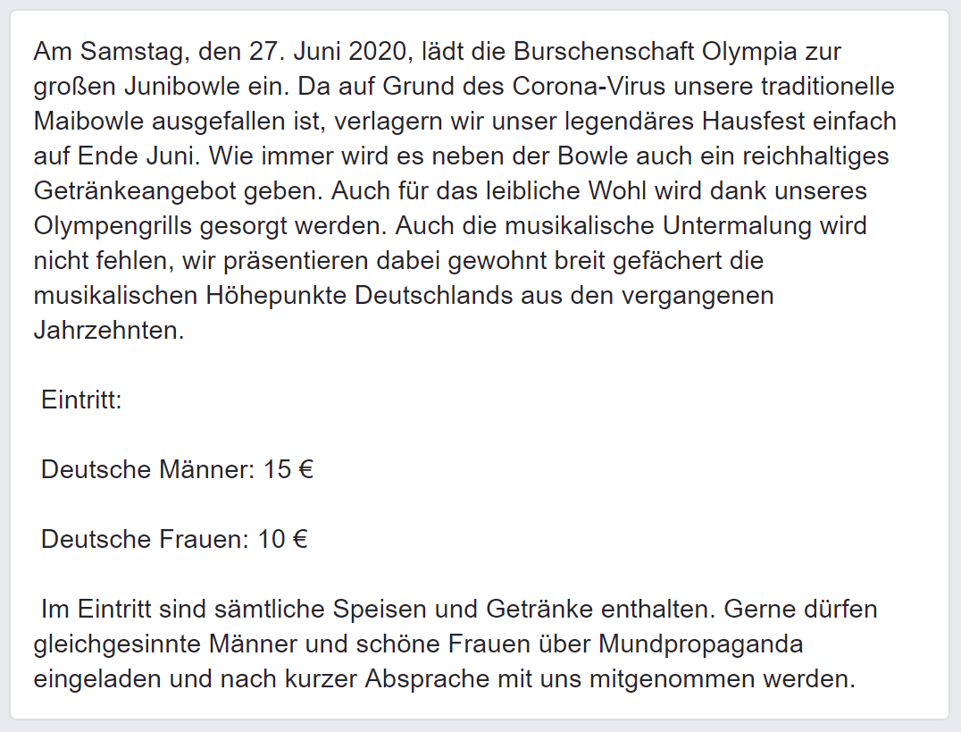 Einladung Olympia Junibowle (Screenshot Facebook via FPÖ Fails)