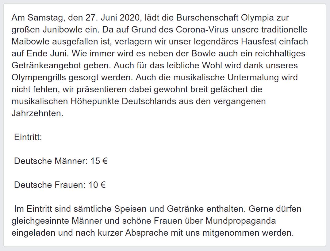 Einladung Olympia Junibowle (Screenshot Facebook via FPÖ Fails)