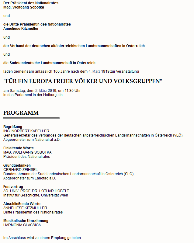 Sobotka und Kitzmüller laden zu einer rechtsextremen Veranstaltung ins Parlament