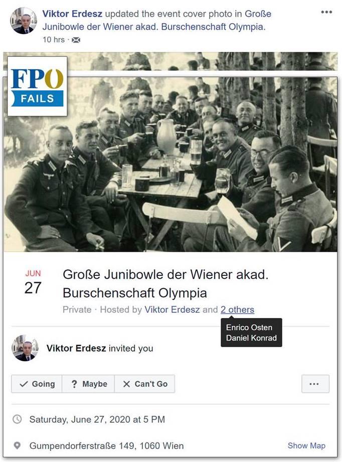 Einladung mit Wehrmachtsbild zur Olympia-Junibowle (Screenshot FPÖ Fails)