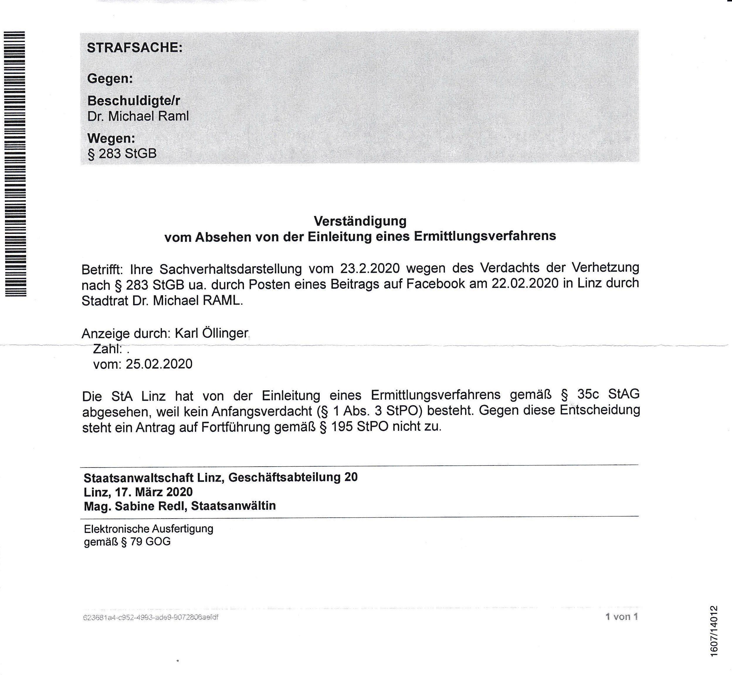 """Mitteilung über das """"Absehen von der Einleitung eines Ermittlungsverfahrens"""" durch die Staatsanwaltschaft Linz"""