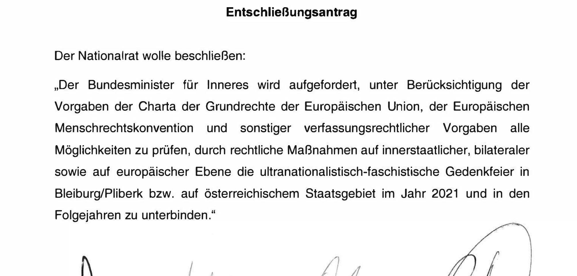 Entschließungsantrag zum Ustascha-Treffen in Bleiburg/Pliberk