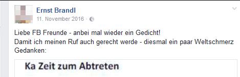 """Ernst Brandl: """"Ka Zeit zum Abtreten"""""""