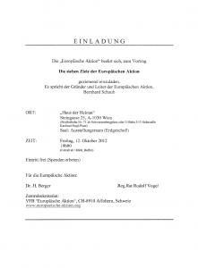 """Einladung ins """"Haus der Heimat"""" (Okt. 2012)"""