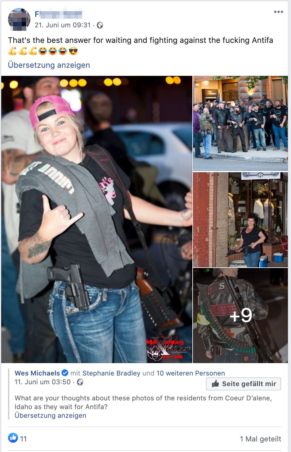"""F.S. (St. Peter/Hart): Mit Waffen gegen die """"fucking Antifa"""""""