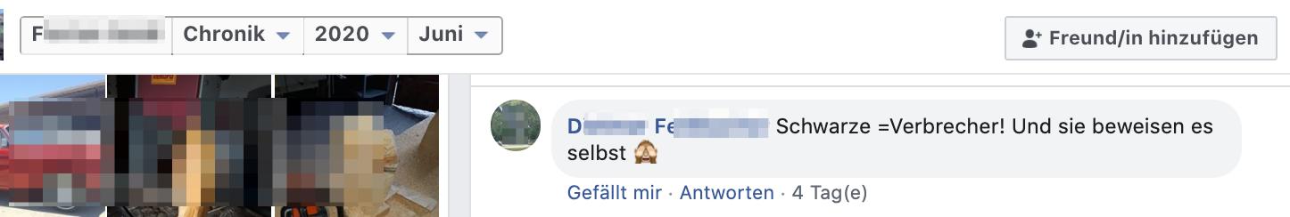 "Kommentar bei F.S.: ""Schwarze =Verbrecher!"""