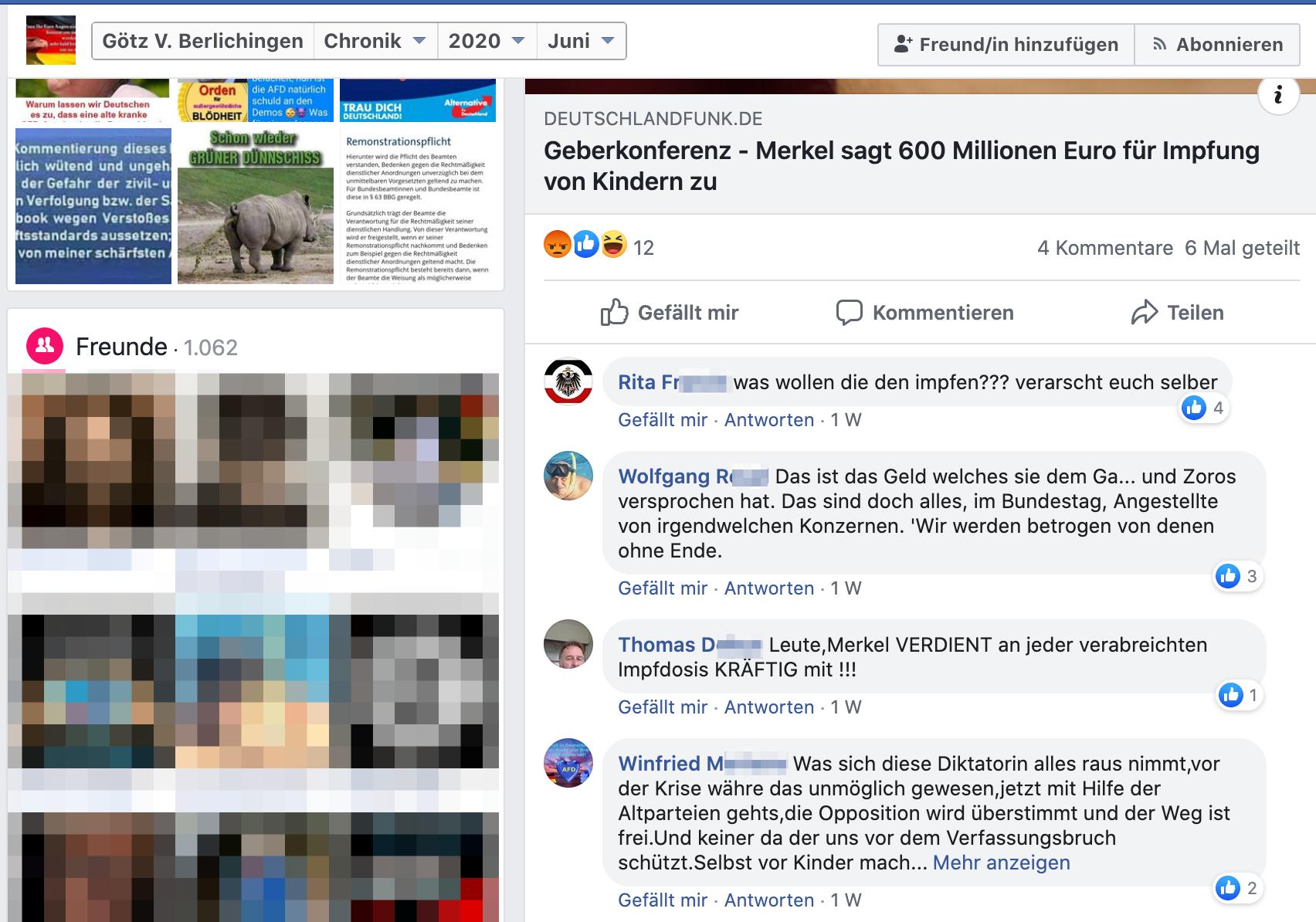 FB-Profil Götz V. Berlichingen zwischen Verschwörungsmythen und Nazi-Schrott