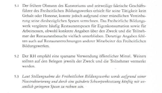 Nachtrag zum Tätigkeitsbericht des Rechnungshofes 1995 (Reihe Bund 1997/1), FBW Kuratoriumsvorsitz Spesen