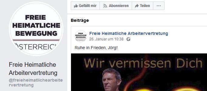 Die FHB vermisst Jörg Haider (Screenshot Facebook)