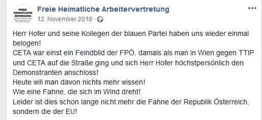 Norbert Hofer hat uns wieder einmal belogen (Screenshot Facebook)