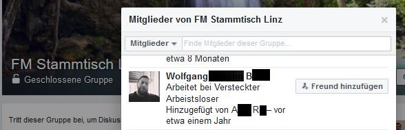Im FM Stammtisch Linz, einer geschlossenen Facebook-Gruppe mit mehr als 500 Mitgliedern, tauschten sich Staatsverweigerer, Anhänger von OPPT, ICCJV usw. mit Hardcore-Neonazis aus.