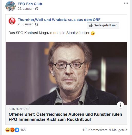 FPÖ Fan Club Beitrag über österreichische Kunst- und Kulturschaffende