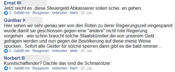 """FPÖ Fanclub: """"Steuergeld Abkassierer"""", """"Staatskünstler"""", """"Schmarotzer"""""""