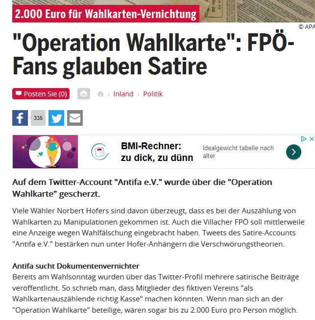 FPÖ-Fans glauben Satire zu Wahlkarten