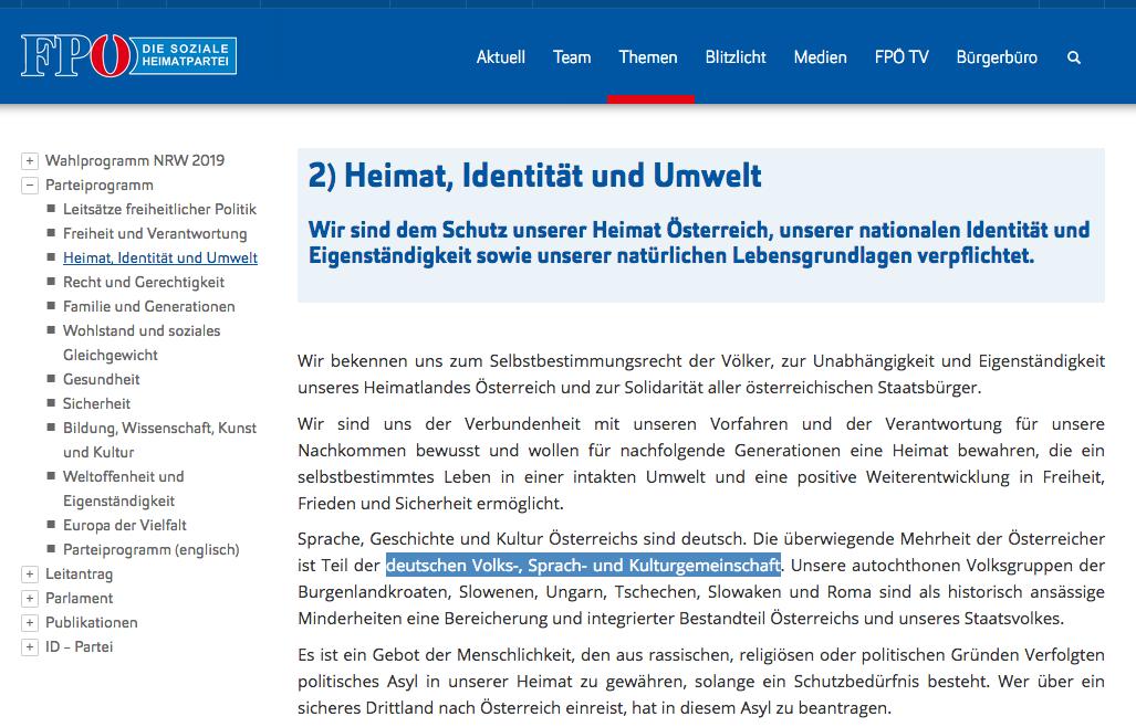 """FPÖ-Parteiprogramm: """"der deutschen Volks-, Sprach- und Kulturgemeinschaft"""""""