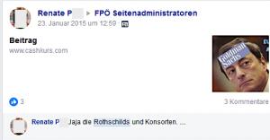 """Antisemitismus der Gruppenadministratorin Renate P.: """"Jaja die Rothschilds und Konsorten"""""""