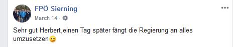 "FPÖ Sierning lobt Herbert Kickl: ""Sehr gut Herbert, einen Tag später fängt die Regierung an alles umzusetzen"""