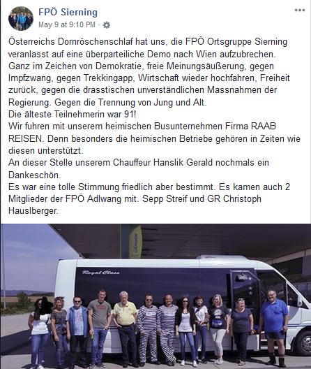 Die FPÖ Sierning beim Bus auf dem Weg zur Demo nach Wien