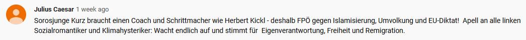 "FPÖ TV Hartberg, Kommentar: ""Sorosjunge Kurz"" (Screenshot 30.9.19)"