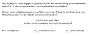 FPÖ Horitschon verkündet Auflösung und den Antrag für eine Hundefreilaufzone