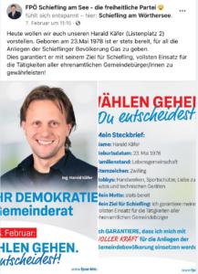 Vorstellung des Listenzweiten Käfer auf der FB-Seite der FPÖ Schiefling