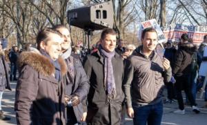 FPÖ Wien bei Demo am 6.3.21 im Prater: Nepp, Kohlbauer, Guggenbichler, Krauss (Foto: Presseservice Wien)