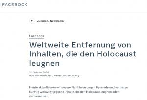 Facebook-Erklärung zu Holocaustleugnung