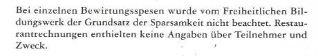 Nachtrag zum Tätigkeitsbericht des Rechnungshofes 1995 (Reihe Bund 1997/1), FBW Bewirtungsspesen