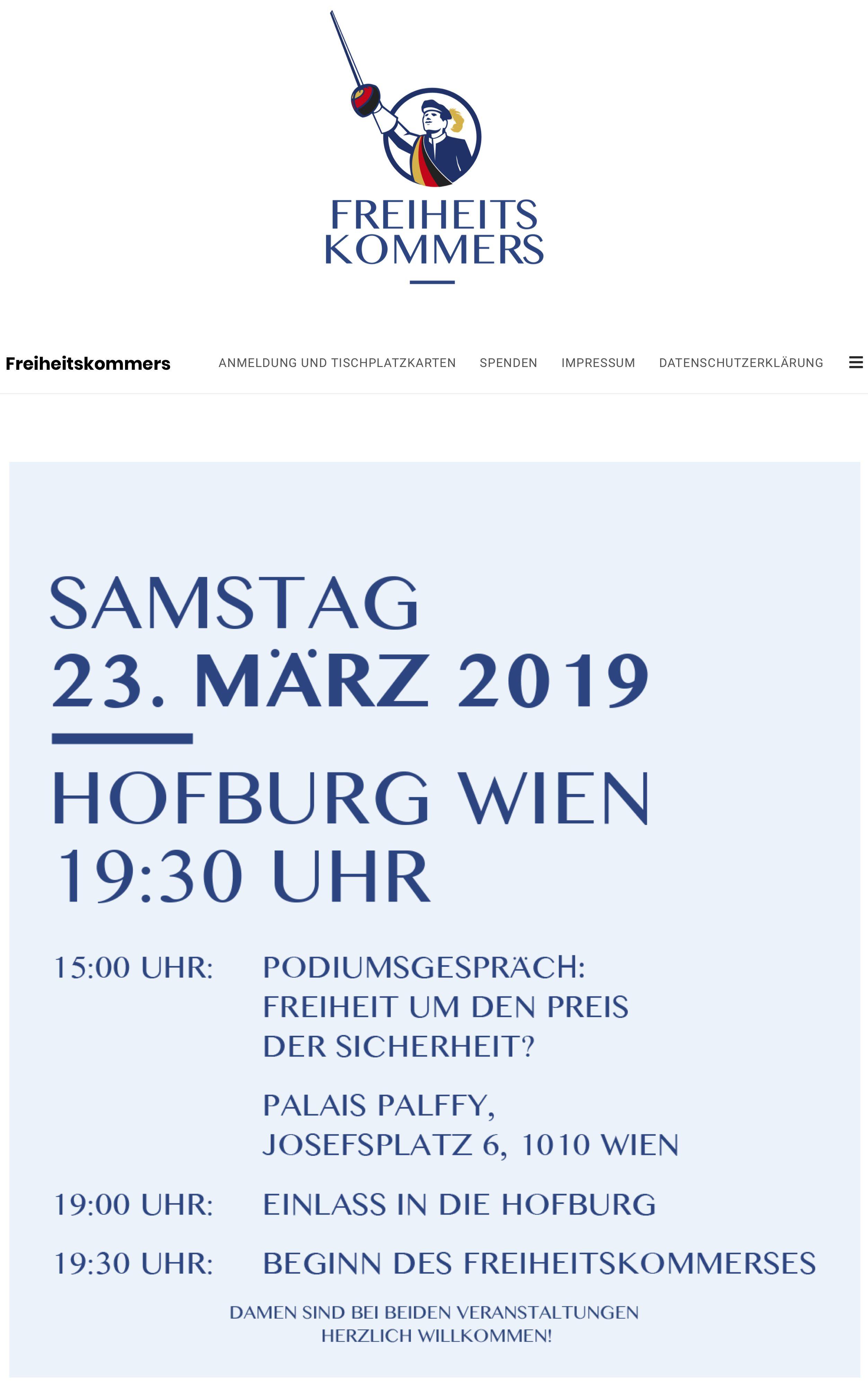 Ankündigung Freiheitskommers 23.3.19, Hofburg