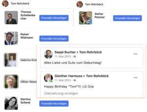 FB-Freund*innen Rohrböck: u.a. Thomas Schellenbacher (Ex-FPÖ-NR), Rainer Widmann, Martina Schenk, Stefan Petzner (Ex-BZÖ-NR); Bucher und Harmuss (Ring Freiheitlicher Wirtschaftstreibender) gratulieren Rohrböck auf FB häufig zum Geburtstag (Quelle: FB Rohrböck)