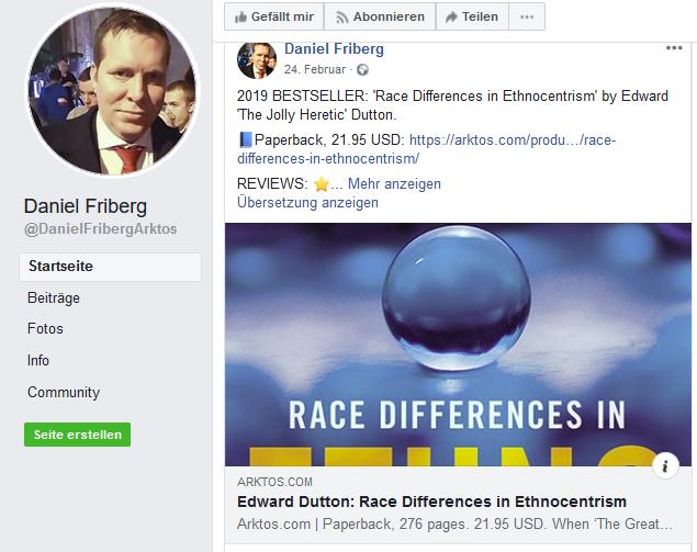 Rassismus auf Daniel Fribergs FB-Seite