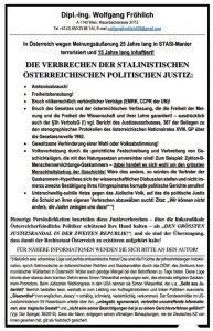 """Fröhlich Verurteilung für Holocaustleugnung als """"Justizskandal"""""""