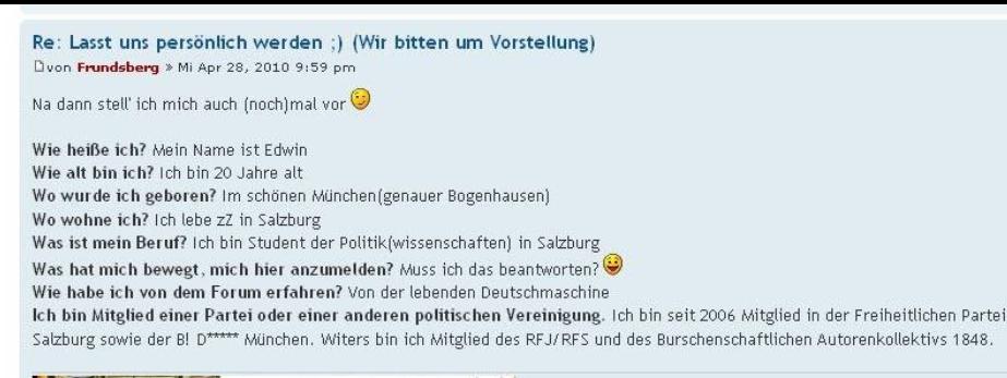 """""""Frundsberg"""" aka Edwin H. im Forum Deutsche Patrioten"""