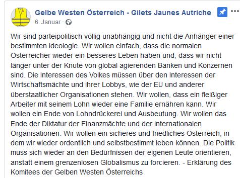 """Erklärung der """"Gelbe Westen Österreich"""""""