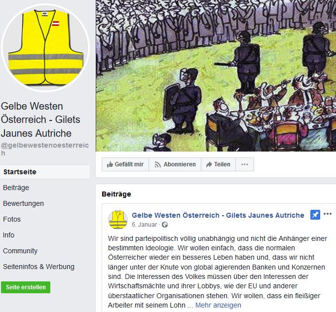 """Facebook-Auftritt der """"Gelbe Westen Österreich"""""""
