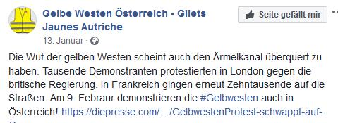 Ankündigung Gelbe Westen-Demo in Österreich