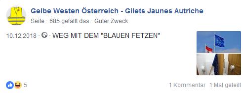 """Gelbe Westen Österreich und EU als """"blauer Fetzen"""""""