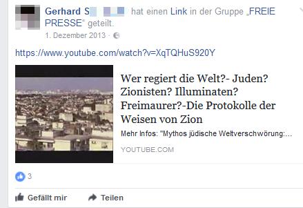 Gerhard S. postet und verlinkt antisemitische Verschwörungstheorien