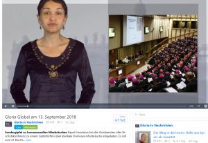 Screenshot gloria.tv Nachrichten 13.9.18
