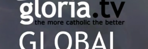 "Logo gloria.tv ""the more catholic the better"""