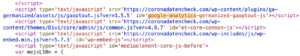 Quelltext Coronandatencheck.com mit Anzeige der Installation von Google Analytics