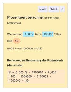 Wiki-Prozentrechnung: 0,005% von 1 Million ergibt 50.