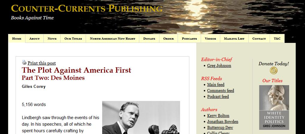 "Greg Johnsons Blog ""Counter-Currents"""