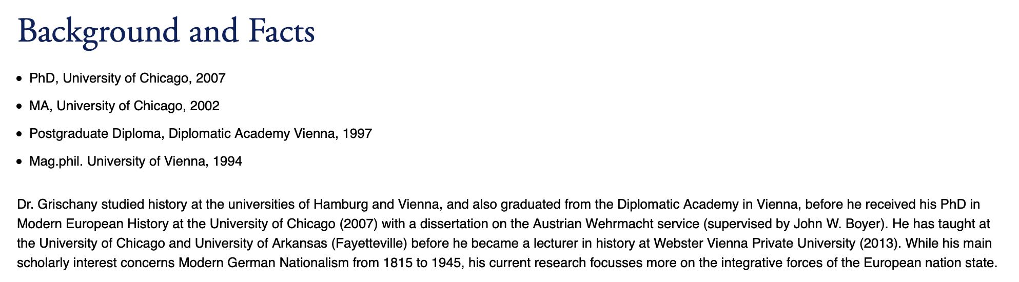 Biographische Angaben Grischany auf Website Webster Universität