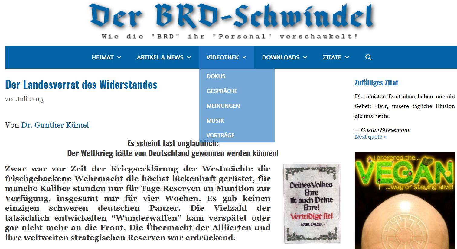 Gunther Kümel auf rechstextremer Website BRD-Schwindel