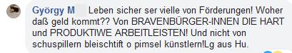 """Györgi M im FPÖ Fan Club: Woher kommt das Geld? Nicht von """"schuspillern bleistift o pimsel künstlern"""""""