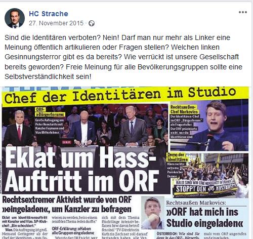 """Strache: """"linker Gesinnungsterror"""" anlässlich Kritik an der Einladung von Markovics im ORF"""